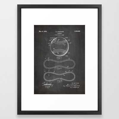 Baseball Patent - Softball Art - Black Chalkboard Framed Art Print - Society6