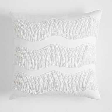 Zig Zag Fringe Pillow Cover, 18 x 18, White - Pottery Barn Teen