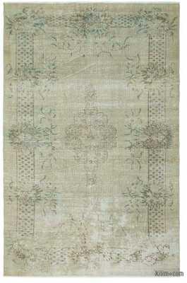 Beige Over-dyed Turkish Vintage Rug - 6'8'' x 10'3'' (80 in. x 123 in.) - Kilim