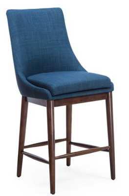 Belham Living Carter Mid Century Modern Upholstered Counter-Height Stool - Blue - Hayneedle