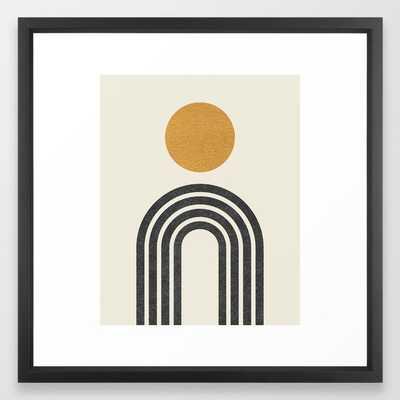 """Mid century modern gold Framed Art Print, 22"""" x 22"""", Vector black frame - Society6"""