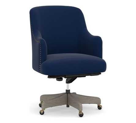 Reeves Upholstered Swivel Desk Chair, Gray Wash Frame, Performance Everydayvelvet(TM) Navy - Pottery Barn