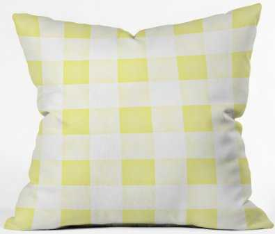 FARMHOUSE SHABBY GINGHAM SUNNY YELLOW CHECKERED PLAID THROW PILLOW - 18x18 - WITH INSERT - Wander Print Co.