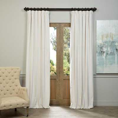 Exclusive Fabrics & Furnishings Blackout Signature Off White Blackout Velvet Curtain - 50 in. W x 96 in. L (1 Panel) - Home Depot