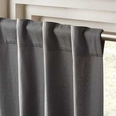 """Graphite Grey Basketweave II Curtain Panel 48""""x96"""""" - CB2"