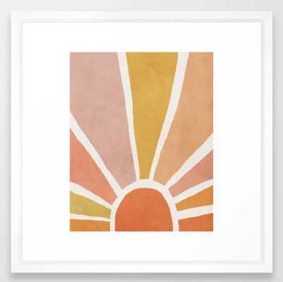 Sun, Mid century modern kids wall art, Nursery room Framed Art Print - Society6