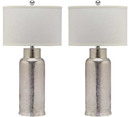 Bottle Glass Table Lamp - Bronze/Off White Shade - Set of 2 - Arlo Home