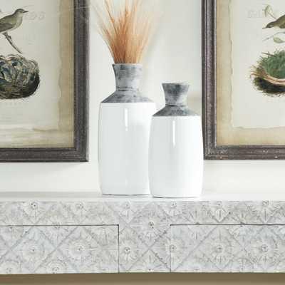 Fairman Textured Matte Ceramic 2 Piece Table Vase Set - AllModern