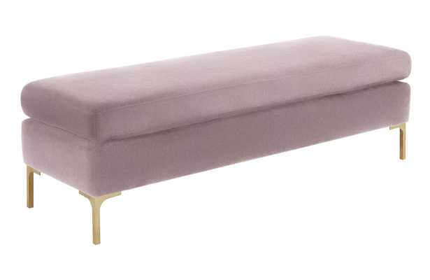 Melanie Blush Textured Velvet Bench - Maren Home
