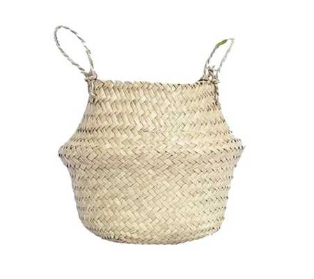 "Natural Seagrass Belly Wicker Basket 14"" x 16"" x 16"" - Wayfair"