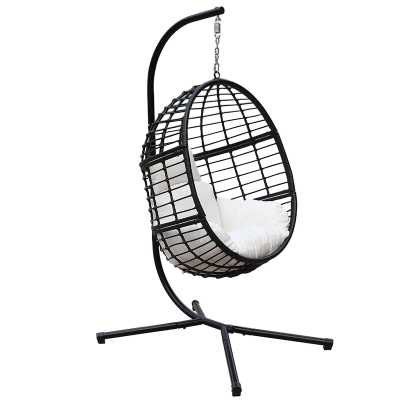 Wolsingham Outdoor Wicker Hanging Basket Swing Chair with Stand - Wayfair