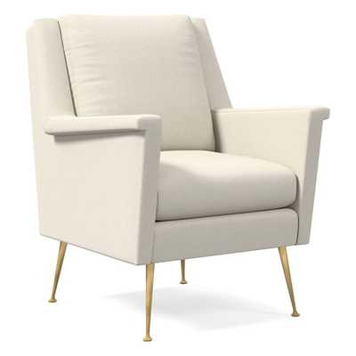 Carlo Midcentury Chair, Luxe Boucle, Stone White, Brass - West Elm