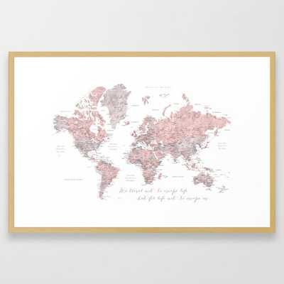 We travel not to escape life, dusty pink and grey watercolor world map - Conservation Natural - Society6