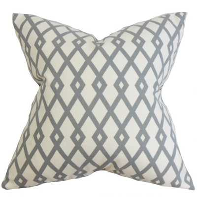 Tova Geometric Pillow Gray - 18 x 18 cover only - Linen & Seam