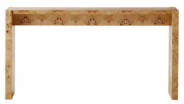 """NICHE BURL WOOD CONSOLE TABLE 54"""" - CB2"""