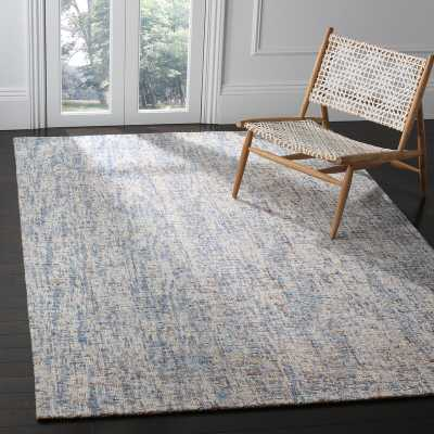 Stainbrook Hand-Tufted Wool Dark Blue/Rust Area Rug 4x6 - AllModern