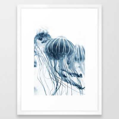 "Wall Art - Jellyfish Circus Plume - Framed Print Vector White - 20"" X 26"" - Society6"