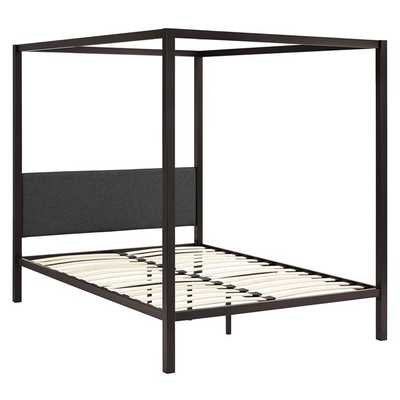 RAINA QUEEN CANOPY BED FRAME IN BROWN GRAY - Modway Furniture