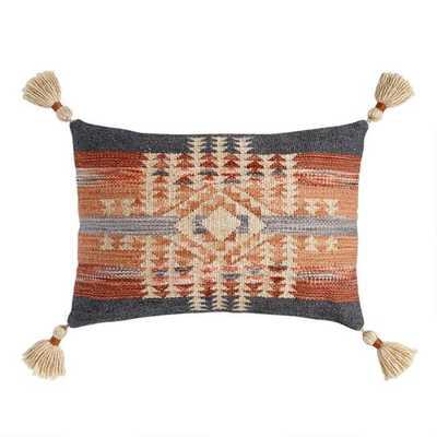 Gray And Rust Kilim Nova Indoor Outdoor Lumbar Pillow - World Market/Cost Plus