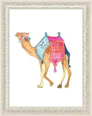 Happy Camel - 8 x 10 Framed Print - Antique White Wood - No Mat - Artfully Walls