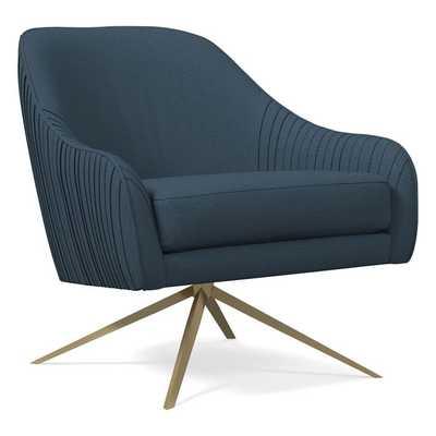 Roar & Rabbit Swivel Chair, Poly, Yarn Dyed Linen Weave, Regal Blue, Antique Brass - West Elm