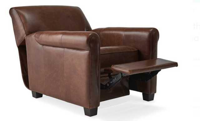Brown Durant Mid Century Modern Leather Recliner Chair - Academy Cuero - Mocha - Joybird