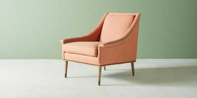 Tillie Chair, Belgian Linen Apricot with Dove Leg and Antique Brass - Anthropologie