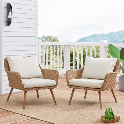 Machen Outdoor Patio Chair with Cushions (set of 2) - Wayfair