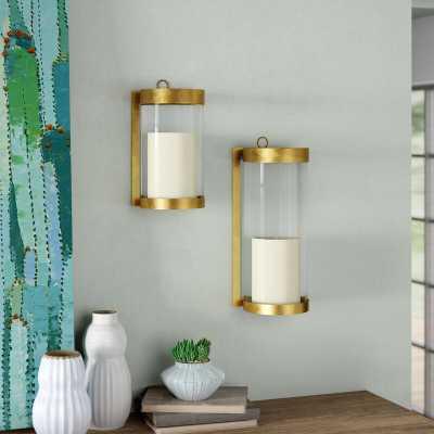 Glass and Metal Wall Sconce - Wayfair