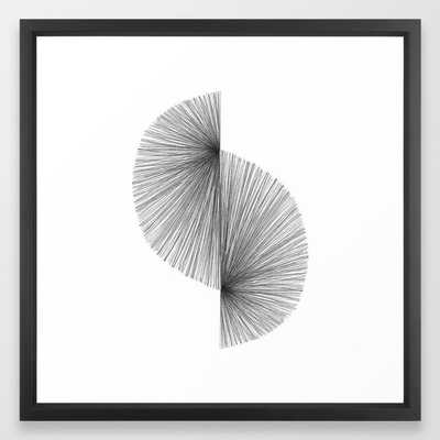 Mid Century Modern Geometric Abstract S Shape Line Drawing Pattern Framed Art Print - Society6