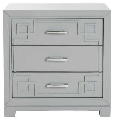 RAINA THREE DRAWER GREEK KEY NIGHT STAND - GRAY - Arlo Home
