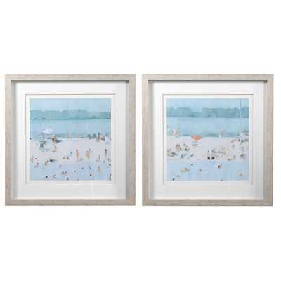 SEA GLASS SANDBAR FRAMED PRINTS, S/2 - Hudsonhill Foundry
