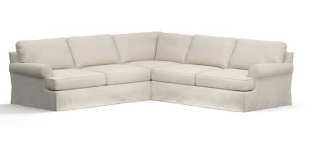 Townsend Roll Arm 3-Piece L-Shaped Corner Sectional Slipcover, Twill Cream - Pottery Barn