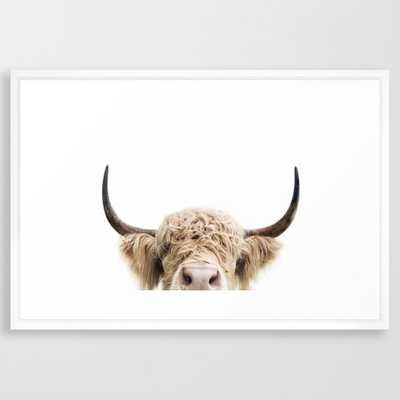 "Peeking Highland Cow .- conversation walnut - 26"" x 38"" (frame not pictured) - Society6"