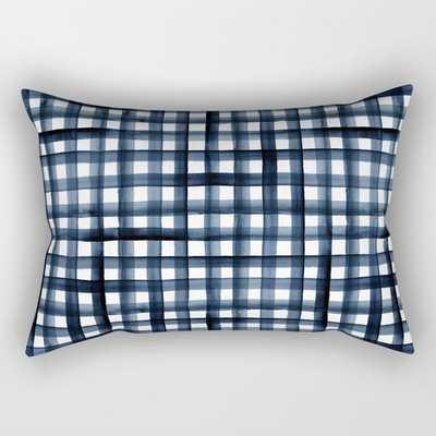 "Watercolor Plaid Navy Rectangular Pillow - Small (17"" x 12"") - Society6"