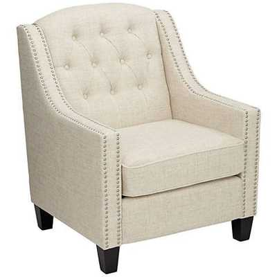 Tivoli Ivory Linen Tufted Armchair - Lamps Plus