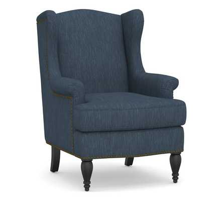 SoMa Delancey Upholstered Wingback Armchair, Polyester Wrapped Cushions, Performance Heathered Tweed Indigo - Pottery Barn
