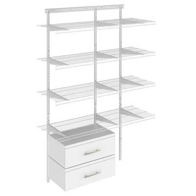 Shelftrack 16.75 in. D x 48 in. W x 84 in. H White Wire Adjustable Pantry Closet Kit with Laminate Drawers - Home Depot