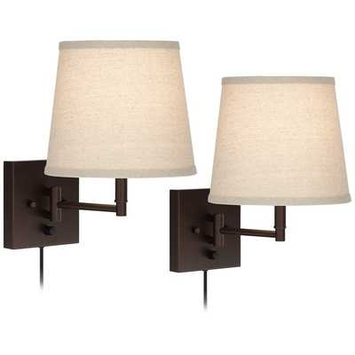 Lanett Painted Bronze Plug-In Swing Arm Wall Lamp Set of 2 - Style # 46T02 - Lamps Plus