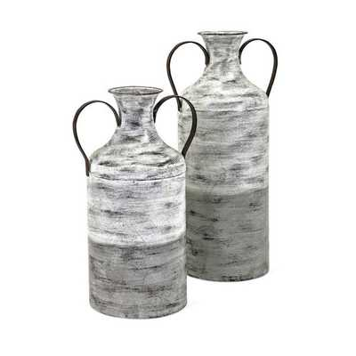 Louver Metal Vases - Set of 2 - Mercer Collection