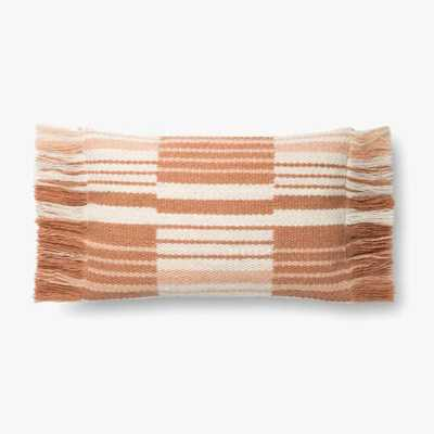 "Magnolia Home by Joanna Gaines PILLOWS P1129 TERRACOTTA / IVORY 13"" x 21"" Cover w/Down - Magnolia Home by Joana Gaines Crafted by Loloi Rugs"