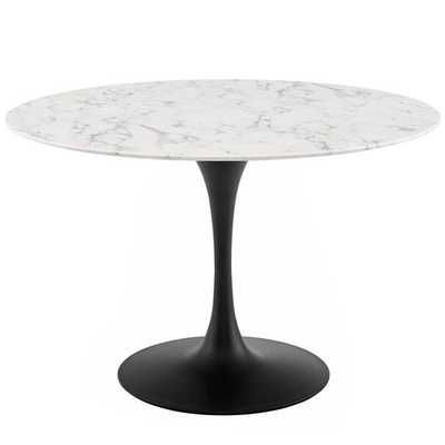 """LIPPA 47"""" ROUND ARTIFICIAL MARBLE DINING TABLE IN BLACK WHITE - Modway Furniture"""