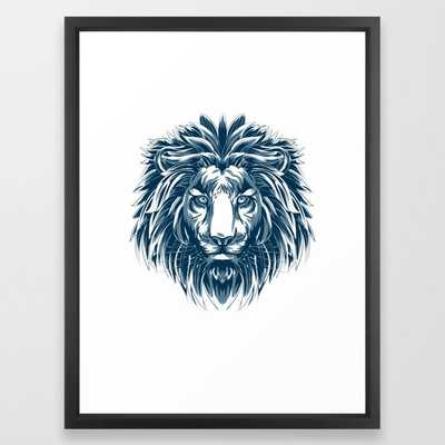 Lovely African Lion Warrior Hand Drawn Portrait product Gift Framed Art Print - Society6