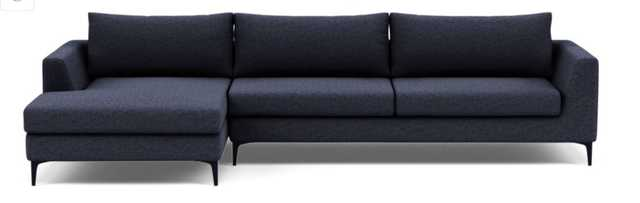 ASHER 2-Seat Sectional Sofa with Left Chaise,Matte Black Sloan L Leg - Interior Define