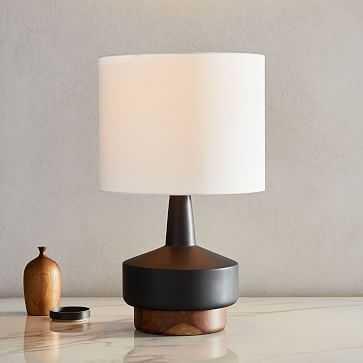 Wood + Ceramic Table Lamp, Medium, Black, Set of 2 - West Elm