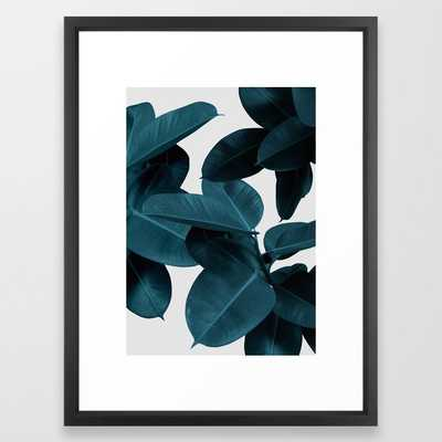 Indigo Blue Plant Leaves Framed Art Print - Society6