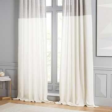 "Belgian Flax Linen Contrast Stripe Curtain, Stone White/Slate, 48""x96"" - West Elm"