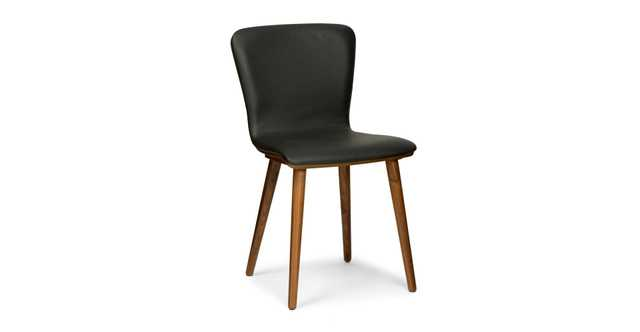 Sede Black Leather Walnut Dining Chair, - Article
