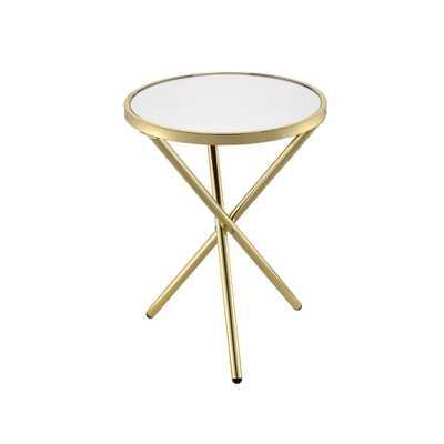 Lajita Black Glass and Champagne Side Table, White Glass & Champagne - Home Depot