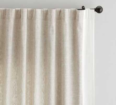Emery Linen/Cotton Framed Border Rod Pocket Curtain - Oatmeal/Ivory - Pottery Barn